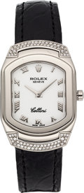 Estate Jewelry:Watches, Rolex Lady's Diamond, White Gold, Cellini Cellissima Watch. ...