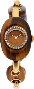 Estate Jewelry:Watches, Barthelay Lady's Diamond, Tiger's-Eye Quartz, Gold Watch, French, retailed by Neiman Marcus. ...
