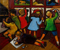 Fine Art - Painting, American:Modern  (1900 1949)  , Joseph Lambert Cain (1904-2003). Coloring Contest, 1935. Oilon canvas. 20 x 20 inches (50.8 x 50.8 cm). Signed lower le...