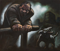 Peter Howson (b. 1958) Untitled (Man and dog) Oil on canvas 12 x 14 inches (30.48 x 35.56 cm) Signed lowe