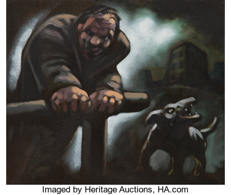 Peter Howson (b. 1958) Untitled (Man and dog) Oil on canvas 12 x 14 inches (30.48 x 35.56 cm) Signed lower right: Hows...