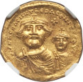 Ancients:Byzantine, Ancients: Heraclius (AD 610-641) and Heraclius Constantine. AVsolidus (4.36 gm). NGC MS 4/5 - 3/5, clipped....