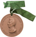 Political:Tokens & Medals, Abraham Lincoln: Choice High-Relief Lava Medal with Original Silk Ribbon Attachment....