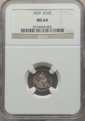 Seated Half Dimes: , 1839 H10C No Drapery MS64 NGC. NGC Census: (61/66). PCGS Population: (54/49). MS64. Mintage 1,069,150. . From The Reill...