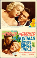 "Movie Posters:Film Noir, The Postman Always Rings Twice (MGM, 1946). Title Lobby Card &Lobby Card (11"" X 14"").. ... (Total: 2 Items)"
