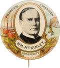 Political:Pinback Buttons (1896-present), William McKinley: Colorful Horns-of-Plenty Picture Pin....