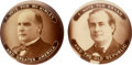 """Political:Pinback Buttons (1896-present), William McKinley and William Jennings Bryan: Rare """"I Vote For..."""" Real Photo Buttons.... (Total: 2 Items)"""