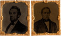 Political:Ferrotypes / Photo Badges (pre-1896), Lincoln & Hamlin: Matched Pair of Abbott Tintypes.... (Total: 2 Items)