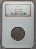 1809 1/2 C C-6, B-6, R.1, MS62 Brown NGC. NGC Census: (4/5). PCGS Population: (2/6). MS62. From The Reilly Cody Colle...