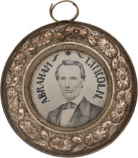"""Lincoln & Hamlin: Spectacular Example of the Largest Size of 1860 """"Doughnut"""" Ferrotype"""