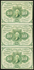 Fractional Currency, Fr. 1242 10¢ First Issue Vertical Strip of Three About New.. ...