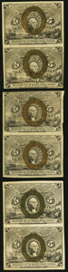 Fractional Currency, Fr. 1232 5¢ Second Issue Vertical Uncut Pair Very Fine;. Fr. 1233 5¢ Second Issue Vertical Uncut Pair Very Fine;. Fr. ... (Total: 3 notes)