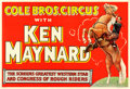"Movie Posters:Western, Ken Maynard Circus Poster (Cole Brothers, 1930s). Poster (27.5"" X 40.25"").. ..."