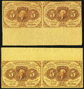 Fractional Currency, Two Fr. 1230 5¢ First Issue Uncut Pairs with Selvedge VeryFine-Extremely Fine or Better.. ... (Total: 2 notes)