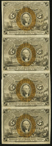 Fractional Currency, Fr. 1233 5¢ Second Issue Strip of Four Very Fine.. ...