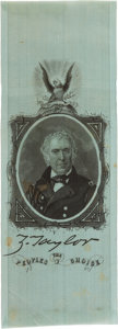 Political:Ribbons & Badges, Zachary Taylor: Campaign Ribbon in Distinctive Cyan-Colored Silk. ...