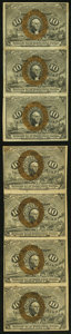 Fractional Currency, Fr. 1244 10¢ Second Issue Vertical Strip Multiples Two Examples.. ... (Total: 2 items)