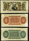 Fractional Currency, Fr. 1324SP 50¢ Third Issue Wide Margin Back About New;. Fr. 1328SP 50¢ Third Issue Wide Margin Face Spinner About New;. ... (Total: 3 notes)