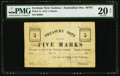 World Currency, German New Guinea Treasury 5 Marks 14.10.1914 Pick 1a.. ...
