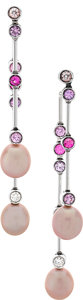 Estate Jewelry:Earrings, Diamond, Sapphire, Cultured Pearl, White Gold Earrings, Chanel. ...
