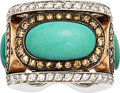 Estate Jewelry:Rings, Turquoise, Colored Diamond, Diamond, Gold Ring...