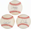 Autographs:Baseballs, 1990's Single Signed Baseballs Lot of 3.. ...