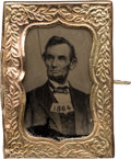 Political:Ferrotypes / Photo Badges (pre-1896), Abraham Lincoln: 1864-Dated Ferrotype in Fancy Frame....