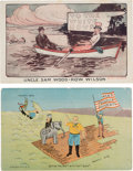 Political:Small Paper (1896-present), William Howard Taft and Woodrow Wilson: Rare Cartoon Postcards.... (Total: 2 Items)