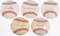 Autographs:Baseballs, Baseball Hall of Fame Single Signed Baseball Lot of 5.. ...