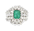 Estate Jewelry:Rings, Emerald, Diamond, White Gold Ring The ring cen...