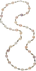 Estate Jewelry:Necklaces, Freshwater Cultured Pearl, Colored Diamond, White Gold Necklace. ...