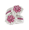Estate Jewelry:Rings, Diamond, Ruby, White Gold Ring The bypass ring...