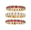 Estate Jewelry:Rings, Diamond, Ruby, Gold Eternity Bands . ... (Total: 3 Items)