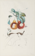 Fine Art - Work on Paper:Print, Salvador Dalí (1904-1989). Fruits Trouees (Fruit withHoles), from Les fruits, 1969. Photolithograph in colorson BF...