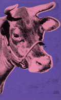 Prints & Multiples, Andy Warhol (1928-1987). Cow, 1976. Screenprint in colors on wallpaper, with trimmed margins. 45 x 29-1/2 inches (114.3 ...