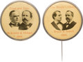 """Political:Pinback Buttons (1896-present), McKinley & Hobart and Bryan & Sewall: Matched Pair of 1 3/4"""" Jugates.... (Total: 2 Items)"""