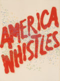 Fine Art - Work on Paper:Print, Ed Ruscha (b. 1937). American Whistles, from American theThird Century, 1975. Lithograph in colors on Arches paper...
