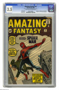 Silver Age (1956-1969):Superhero, Amazing Fantasy #15 (Marvel, 1962) CGC VG- 3.5 Light tan tooff-white pages. Here's the one that started a legend, specifica...