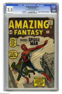 Amazing Fantasy #15 (Marvel, 1962) CGC VG- 3.5 Light tan to off-white pages. Here's the one that started a legend, speci...