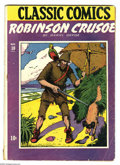 Golden Age (1938-1955):Classics Illustrated, Classic Comics #10 Robinson Crusoe Original Edition HRN 1A(Gilberton, 1943) Condition: GD+. Daniel Defoe's work in comicbo...