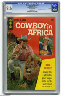 Cowboy in Africa #1 File Copy (Gold Key, 1968) CGC NM+ 9.6 Off-white pages. Only issue. Chuck Connors photo cover. Overs...
