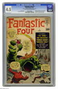 """Silver Age (1956-1969):Superhero, Fantastic Four #1 (Marvel, 1961) CGC VG+ 4.5 Light tan to off-whitepages. With the """"Fantastic Four"""" movie now out in theate..."""