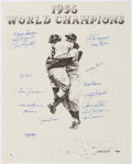 Autographs:Others, 1996 Print Signed by 1956 New York Yankees Team....