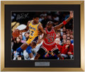 """Autographs:Photos, 2010's """"Magic vs. Michael"""" Oversized Photograph from the 1991 NBA Finals Signed by Magic Johnson...."""