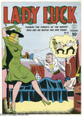Original Comic Art:Miscellaneous, Gill Fox - Lady Luck #87 Color Printer's Proof (Quality, 1950).Lady Luck parries the thrusts of a rogue who is no match for...