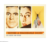"Beyond a Reasonable Doubt (RKO, 1956). Half Sheet (22"" X 28""). Fritz Lang directs this crime drama which stars..."