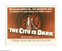 "The City is Dark (Warner Brothers, 1953). Half Sheet (22"" X 28""). The film titled ""Crime Wave"" starr..."