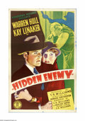 "Movie Posters:Drama, Hidden Enemy (Monogram, 1940). One Sheet (27"" X 41""). Offered here is an original poster for this mystery starring Warren Hu..."