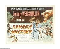 "Savage Mutiny (Columbia, 1953). Half Sheet (22"" X 28""). This adventure starring Johnny Weissmuller, Angela Ste..."