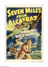 "Seven Miles from Alcatraz (RKO, 1942). One Sheet (27"" X 41""). Offered here is an original poster for this pris..."